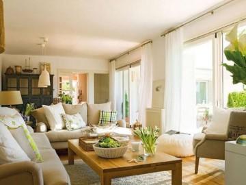 黄+白暖色搭配打造温馨田园公寓