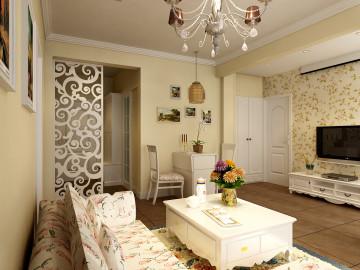 76平一室二厅韩式田园装修效果图