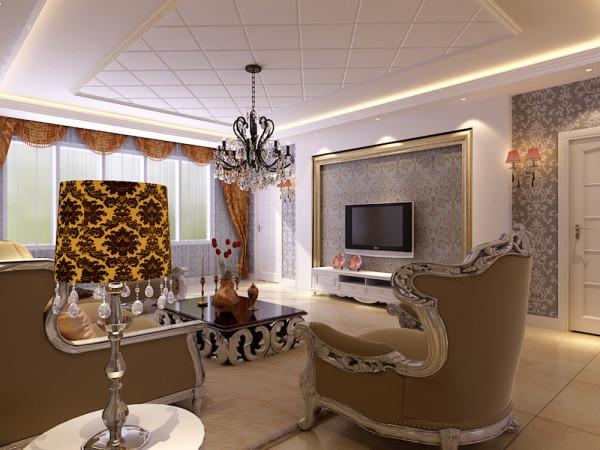 客厅的电视背景墙是以高分子线圈边,将壁纸与石膏板的融合,凹凸有致,立体感较强,墙体是以欧式壁纸为整体,电视柜是以白色烤漆组成,显的整个空间比较亮堂。