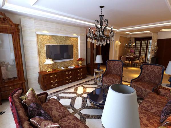 首先在功能方面要充分满足业主的生活需求,客厅是交友娱乐中心,背景墙的两侧采用酒柜的对称设计,中间采用大理石线及瓷砖斜拼上墙既大方又气派