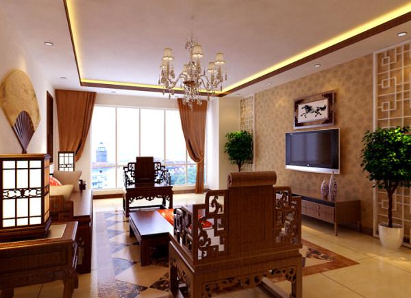 设计理念:打造庄重与优雅双重气质,格调高雅,造型朴素优美。 亮点:电视背景墙传统元素木格运用了现代工艺的装饰手法。