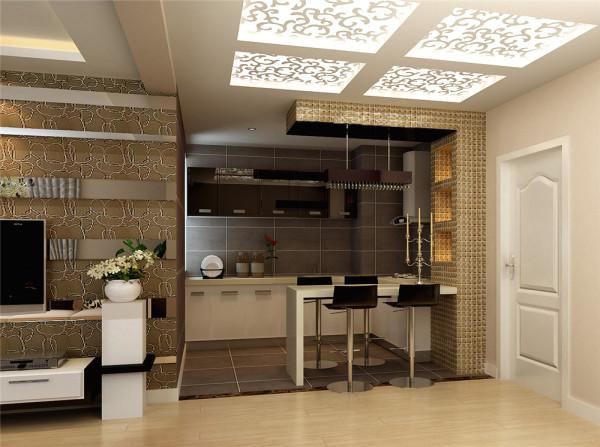 在空间功能格局划分上:打破原始格局把封闭的厨房空间进行整改,做成开放式厨房,拓展视觉效果,配合马赛克与石材打造的吧台,与灰色的面砖,