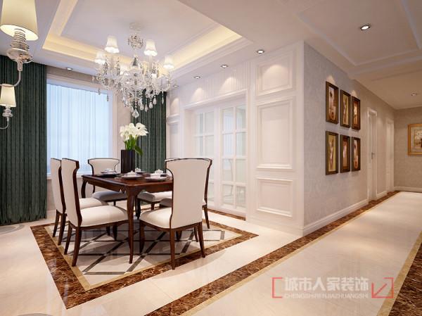 餐厅作为独立用餐环境并不单调,整体色调与客厅相照应,在吊灯带来的光源效果让就餐的气氛温馨了许多。