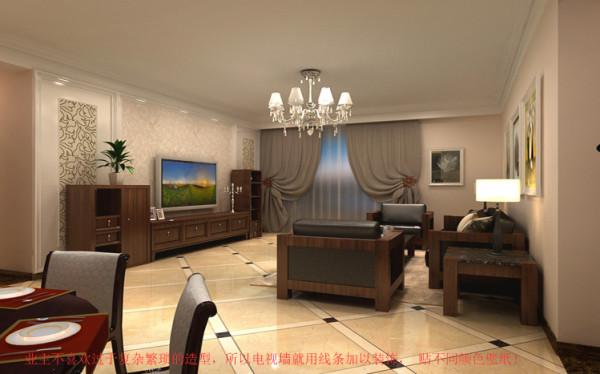 本案的客厅采用细腻的米黄色调,中式的板式家具,深红色与米白色的墙漆相搭配,让优雅的格调呼之欲出。