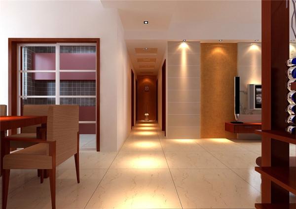 客厅电视墙比较大,如不做处理,以后会显得很单调,设计手法使用石膏板加局部壁纸,简单而有层次感。