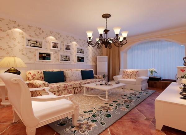 设计理念:餐厅背景墙用装饰画装饰,增加了空间的延展性,在水晶吊灯的配搭下,共演美妙的光影之舞。墙面配以小碎花的壁纸和沙发以及地毯的搭配,给空间多了一丝生气。