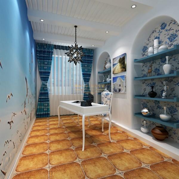 设计的完美是能够在整个空间内衔接自然成为风格一体化,海天一色的装饰背景画环绕着书房成为精致,圆拱形造型加上蓝色的隔板成为收纳墙,铁艺吊灯、白色高脚椅,一切呈现出的是优雅又自得的惬意享受。