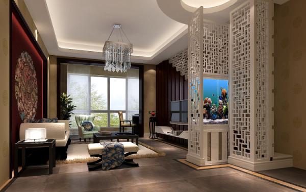 把原有中式家具放在效果里面,配上中式雕花、哑 光砖以及色彩明亮的中式壁画,门厅客厅餐厅效果协调统一
