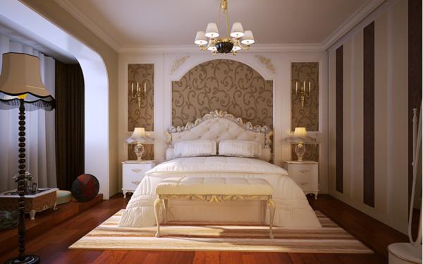 简单的花纹墙纸搭配石膏板造型,既凸显风格又能控制造价,白色的家具,干净整洁。