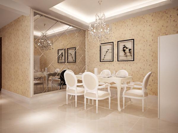 设计理念:餐厅的空间讲究对称且划分简单合理,给了主人们更充裕的自由活动空间,亮点:餐厅上方点缀吊顶使得整个用餐氛围温馨和谐,
