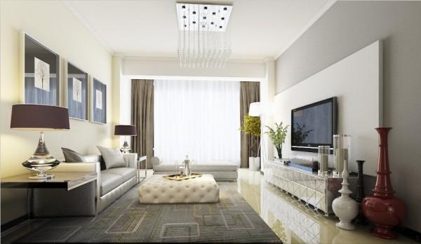 沙发背景墙和电视背景墙大面积的色块对比,加以电视背景墙流畅的线条感是整个空间大气而时尚。电视墙用极其简单的一块石膏板搭配浅灰色的乳胶漆。既有造型又不繁琐。