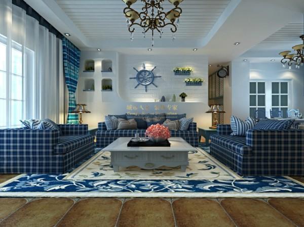 鲜明的色彩承接的是海的韵味,设计中用沙滩的黄色地砖来表现,蓝色花纹的地毯,蓝色格纹的沙发,白色的背景墙,用圆润的线条勾勒出造型与层次,小巧的吊篮,舵轮的装饰,充满风格的独特装饰感。