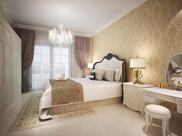设计理念:主卧作为业主休憩的场所,已不再需要过多的装饰,欧式家具的运用让卧室更具魅力。亮点:大面积的落地窗配上素白的纱帘,轻巧浪漫,绝佳的采光让卧室中的下午茶时光更加惬意美好。