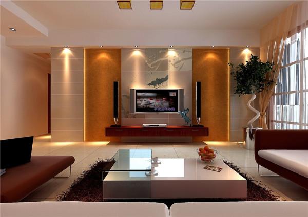 房子客厅及餐厅在同一个空间,比较空旷。在设计上,首先使用的手法是在客厅及餐厅的中间吊顶,从顶面上把两个空间分开,免得以后会出现空旷及隐私性差的效果。