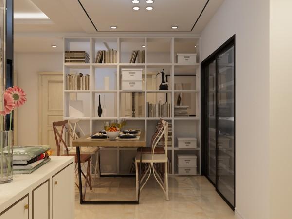 简约的餐厅设计,陈列架增加了空间收纳功能,提高了家居环境的实用性。