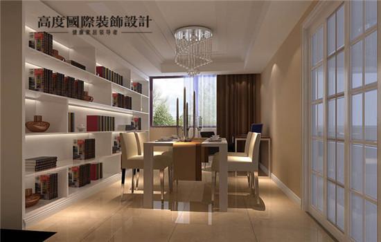奢华的餐厅,外加一排书柜的设计