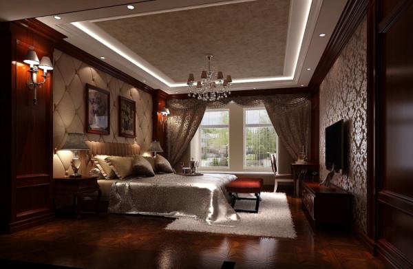 主卧也采用深色护墙板和欧式壁纸,使之与整体风格一致,床头使用软包装 饰,打造优雅细腻的休息空间