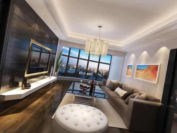 设计理念:超有质感的电视墙造型使空间很简洁、大方,富有节奏韵律。客厅顶部双层灯池,有拉伸空间视觉感,极简的吊灯营造光源气氛。大面积墙面选用了浅色竖条状壁纸,以提升精致效果。地面材料用地板质感更为细腻。