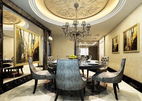 餐厅是一天工作繁忙之后,沟通较多的地方,遂不必过于繁杂。亮点:餐厅与客厅统一,将除了欧式惯用的白色材质外,还用了镜子等现代材料,大大提升了原质感的对比效果,在表现尊贵的同时还增添了几分现代感。