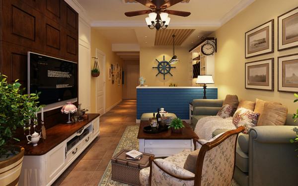 反差的设计更能突出整个空间的重点,整体的淡黄色墙漆与蓝色的吧台和浅绿色的家具相结合,给人以温馨淡雅、时尚自然地感觉。