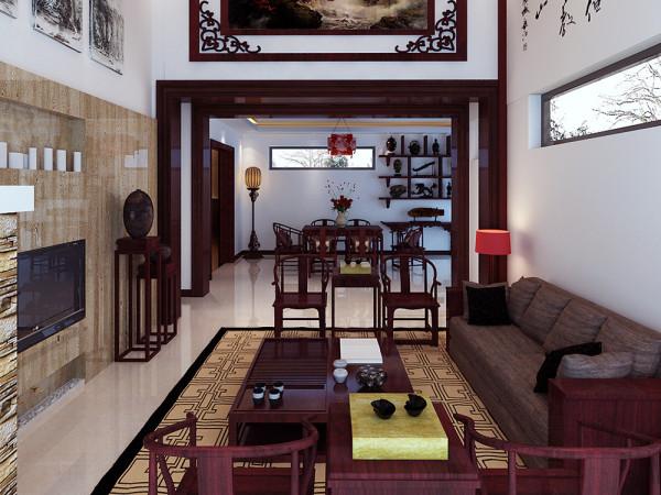 此方案客厅为共享空间,餐厅的顶面为回字形吊顶,此方案的整个空间装饰采用简洁硬朗的直线条,反映出新中式的简单,质朴的设计风格。