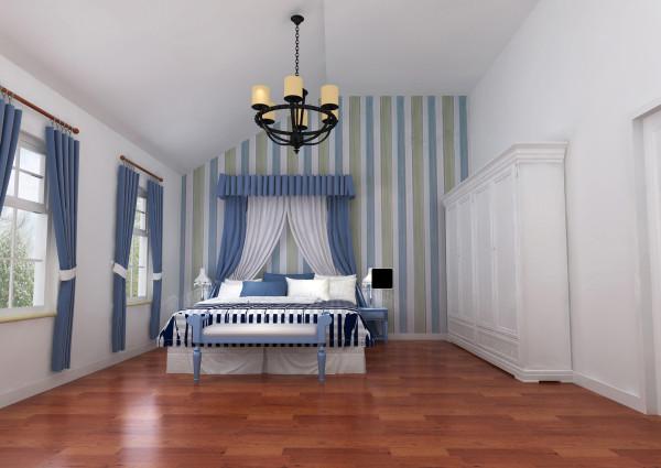 浪漫舒适的休憩之地设计理念:卧室利用竖条的壁纸和窗帘加深了空间的纵深感,使空间完美的整合起来。卧室  设计仍然沿用整体风格的清新自然,给人感觉更为明亮简洁,舒适大方。