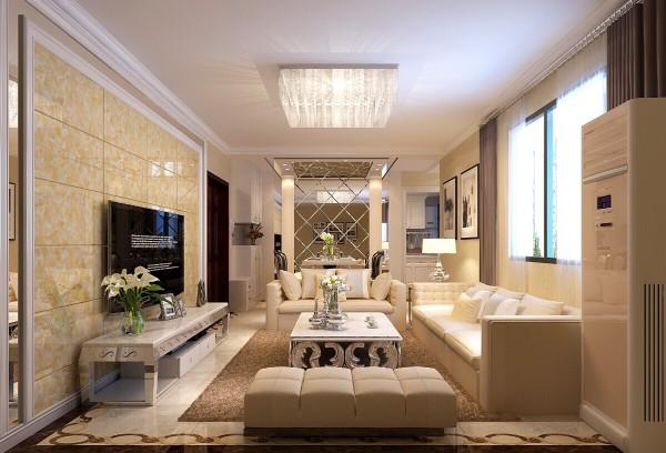 本案是现代简约风格设计,微晶石与镜面的搭配,使得整体客厅空间,更显简约大气,精致的地面玻打线,让现代风格简约不简单。