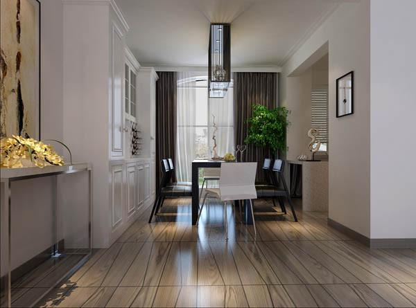 餐厅去窗帘色彩的完美过渡,大面积的一组白色柜子,餐桌黑色的大方稳重,及光照足,整个空间色彩的对比丰富,所有颜色的饱和度也很高,体现出色彩最绚烂的一面。无须造作,本色呈现。