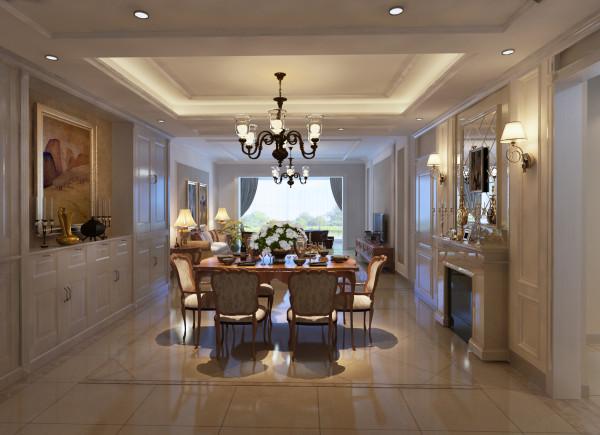 餐桌居中,运用一边壁炉装饰,一边运用酒柜装饰,让餐桌