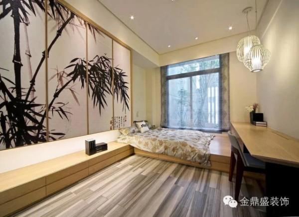 【雅致清新的竹韵卧室】木质地板与白色墙壁营造的简洁空间里,一大幅竹韵泼墨画和两盏竹编的灯笼则具有浓厚的中国文化,空间书卷气浓厚。