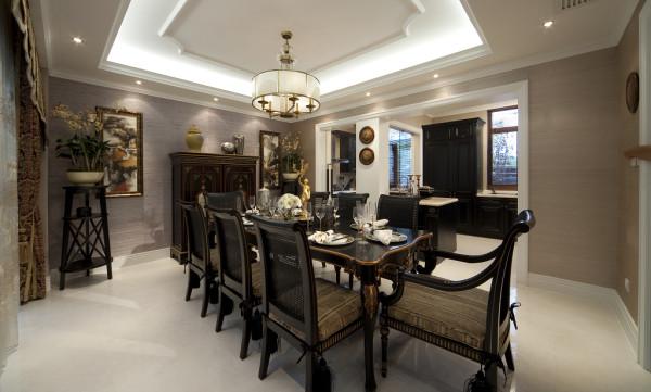 【成都实创装饰】独栋别墅—欧式风格—高端样板房—餐厅装修效果图