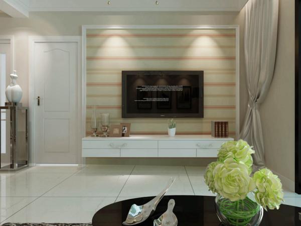 该户型的设计风格为现代简约风格。整个空间以暖色调为主,暖色的光源给空间营造了温馨舒适的感觉。由于空间较小,就没有做过多的造型,客厅的顶面是平顶,沙发是暖咖色的,与整个空间的色调融为了一体。