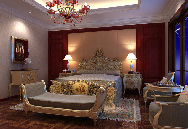 地面应具备保暖性,一般宜采用中性或暖色调,材料有地板地毯等。吊顶的形状、色彩是卧室装饰设计的重点之一,一般以简洁、淡雅、温馨的暖色系列为好。