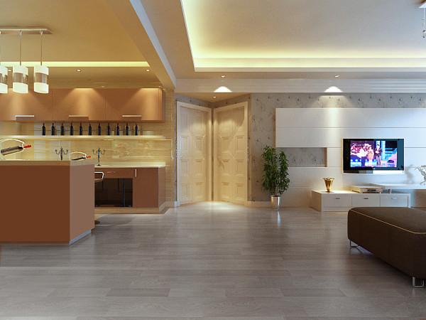 设计理念:空间的开阔设计,吧台及打橱柜色调上采用香槟色,时尚而高贵。 亮点:90度竖直门设计作为过渡点,将电视背景和橱柜结合在一起,更具现代感觉,诠释了简约而不简单。