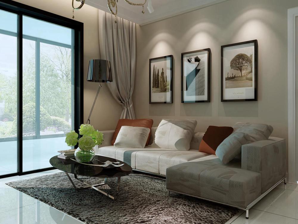 由于空间较小,就没有做过多的造型,客厅的顶面是平顶,沙发是暖咖色的