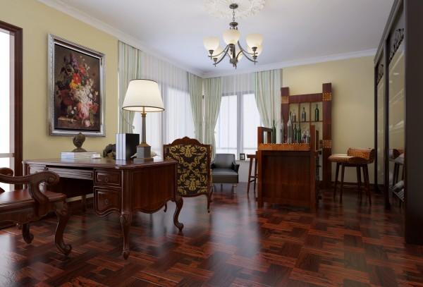 书房人文气息分厂浓郁,印入眼帘的就是大美色调的地板跟书桌椅,墙面配以浅黄色的墙漆,色调协调温馨,布局合理到位。书房本就是主人学习工作或者休闲的地方,充满浓厚的人文风情。