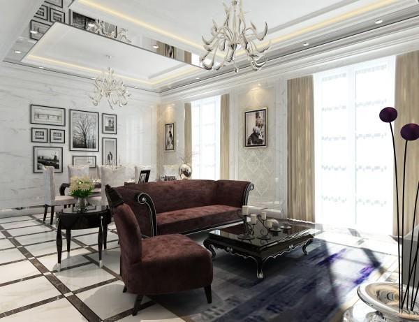欧式三居客厅卧室餐厅装修效果图片_装修美图-新浪网图片