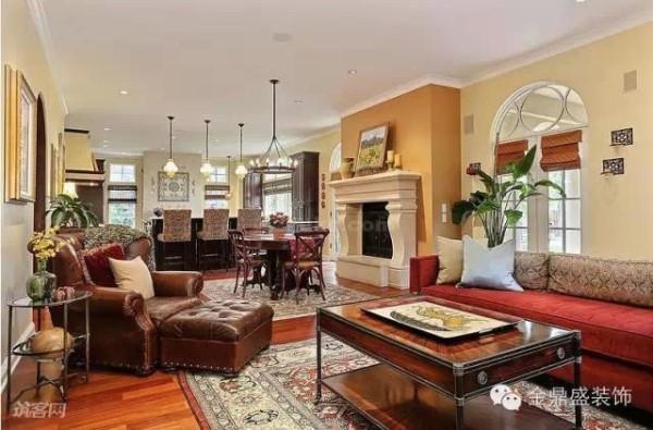 这个客厅与厨房同处于一个空间,中间设了一个小型餐厅,起到了空间转换和过渡的作用。