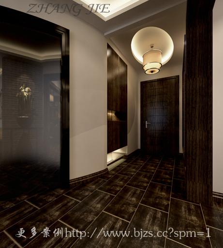 """地面采用传统的""""工""""字形式同一颜色地砖进行铺贴,通过棚面的设计让空间既有区域划分又简单不失奢华。"""