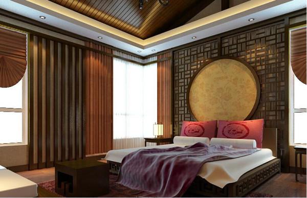 卧室的设计用一种淳朴的设计手法,追求内敛,朴素,利用中式文化木格做床的背景墙,宁静又温暖,红色床枕与地毯给卧室带来一袭暖意,感觉到一种东方的含蓄和高贵,也透露了主人的生活品味。