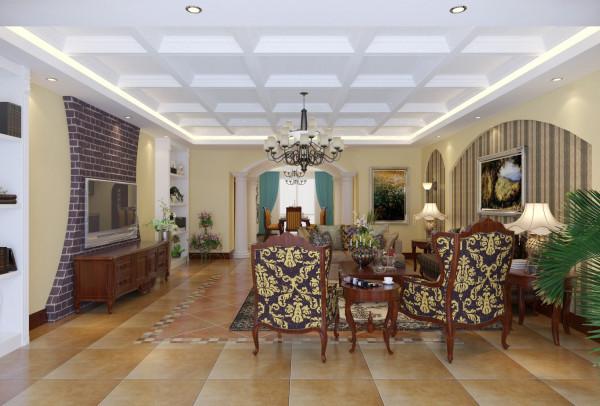 来欣赏下精美的客厅吧。格纹吊顶、仿古砖壁纸电视背景墙、大气优雅的条纹沙发背景墙、典雅发的沙发座椅等。细节处张扬着美式的自然优雅,地砖仿古做旧式的,跟整个风格搭配和谐。