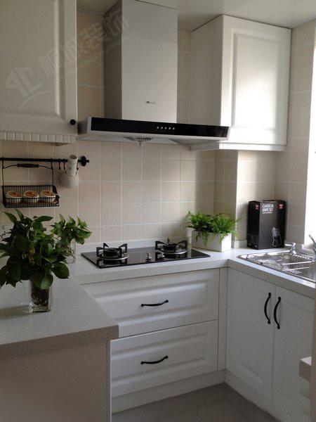 白色整洁的厨房搭配小绿植