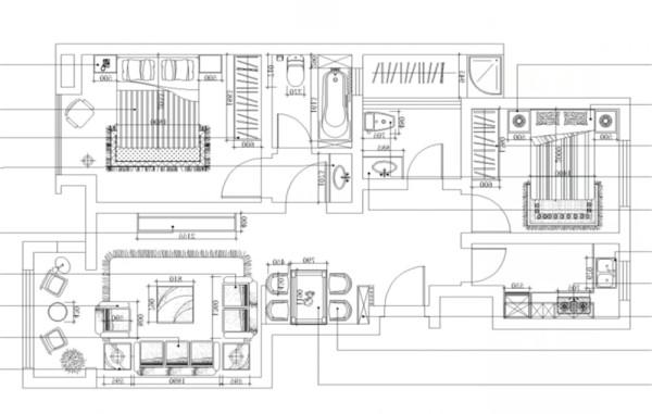 入门接触第一个空间是走廊似得流动空间,入门左手边为玄关柜和餐厅空间,穿过餐厅是客厅,右手边为厨房,客餐厅对面是休息区域,主卧空间与次卧空间分别坐落在户型左右两端