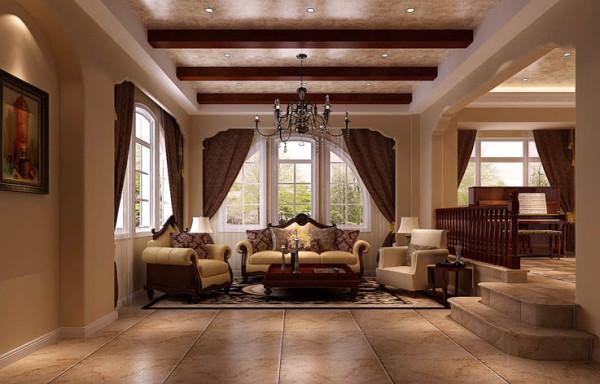 房子外观为托斯卡纳风格,托斯卡纳风格发源于地中海风格,属于地中海风格的一个 分支,所以我们在做设计的时候,充分利用了这一种元素