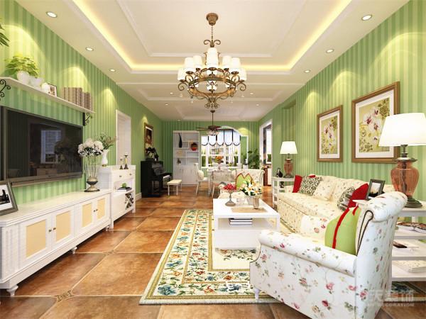 本方案中客厅地面通铺800*800的仿古地砖,墙面铺绿色的竖条纹壁纸,电视背景墙以简单的隔板造型为主,搭配一些仿古的艺术品摆件,沙发背景墙以简单的装饰挂画为主