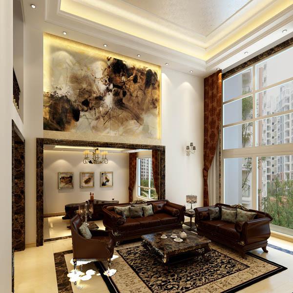 墙面上的装饰,虚实的结合,装饰画的点缀,大理石和软包,这样现代空间的手法,使室内宽敞明亮,体现出中国传统空间精神和韵味,给现代古典一种开阔的时尚感。