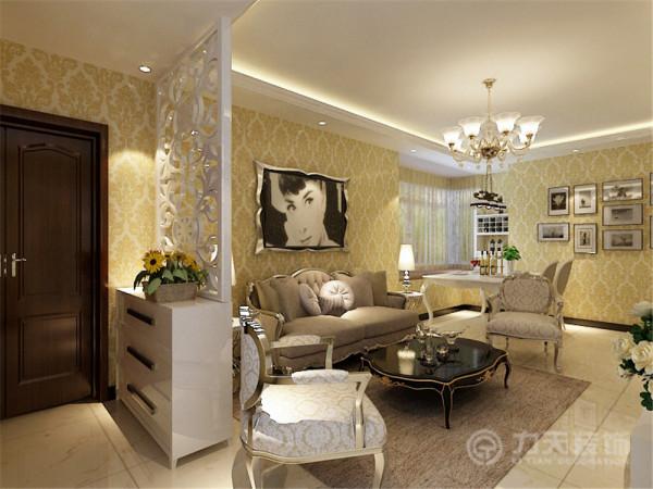 沙发背景墙是以画为主,整个空间的软装都是以咖色为主,吊顶则是简单的回字形吊顶,彰显了极简主义的特点。装饰品和画、绿植是起点缀作用,整个起居室是以暖色为主