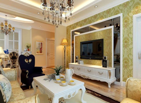 客厅主要以白色为主色调,简单的线条造型顶存托出空间的层次感,深灰色的玻璃电视背景墙与烟灰色的水景吊灯相呼应,营造出温馨、和谐的生活氛围。