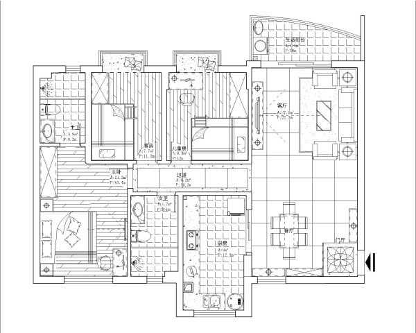 客餐厅地砖使用纹理感很强的横纹大地砖铺设,卧室又用视觉对比强烈的地板进行搭配,家具主要以白色或浅色为主,明亮、简约、干净、温馨,这边是客户想要的了.