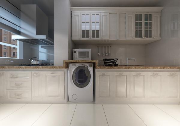 洗衣机放在厨房 整体搭配简约简欧 整体利用空间_装修